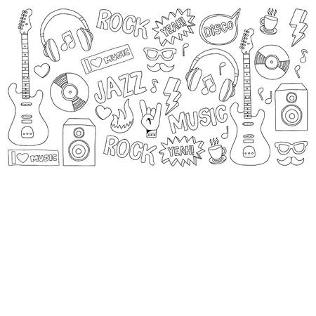 Vector doodle set met getrokken muziek de hand iconen Stock Illustratie