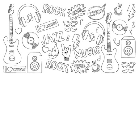 snickers: Vector doodle set with music hand drawn icons