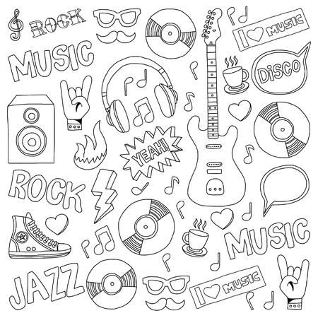 vocalist: Vector doodle set with music hand drawn icons