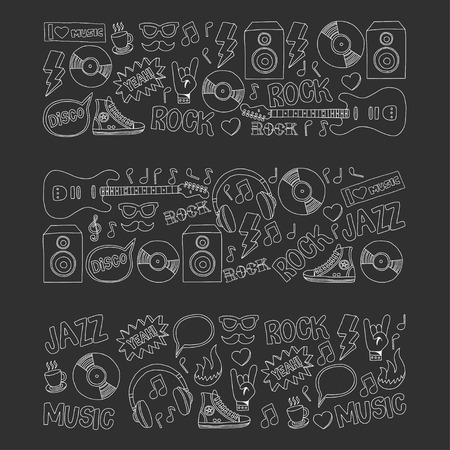 snickers: Vector doodle set Music and sound For any kind of design Hand drawn elements