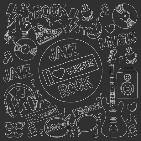 vocalist: Vector doodle set Music and sound For any kind of design Hand drawn elements