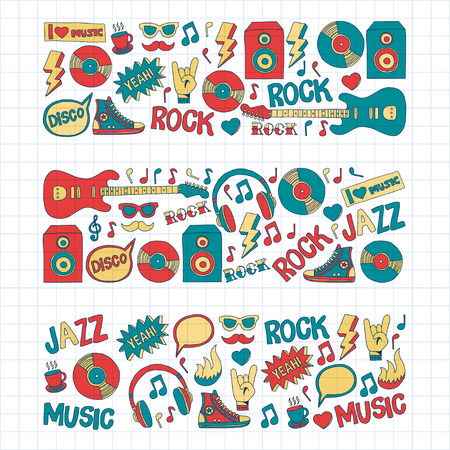 snickers: Doodle vector icons Music and sound Hand drawn pictures