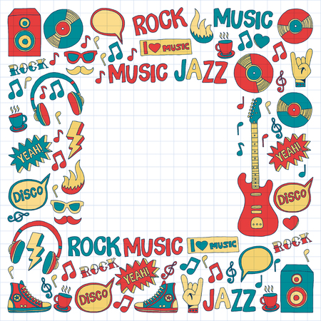 vocalist: Doodle vector icons Music and sound Hand drawn pictures