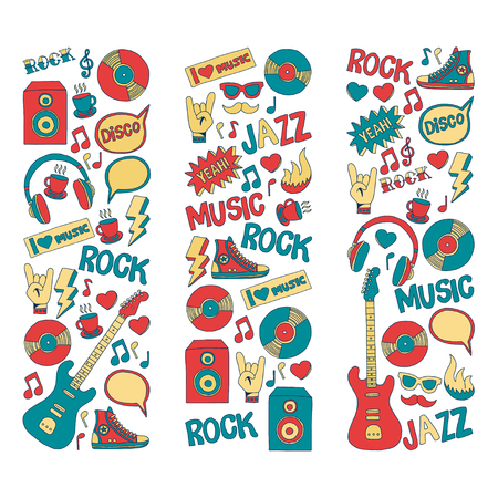 the vocalist: Doodle vector icons Music and sound Hand drawn pictures