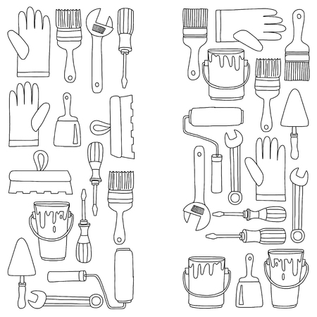 paintroller: Repair and renovation tools Hand drawn vector pictures Illustration