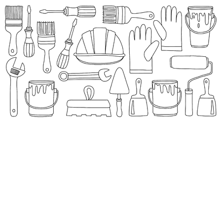hand trowels: Repair and renovation tools Hand drawn vector pictures Illustration