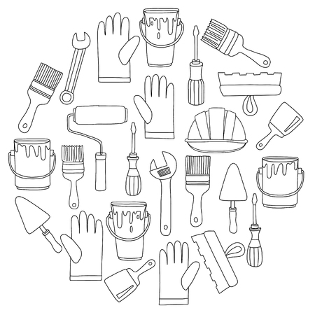 refit: Repair and renovation tools Hand drawn vector pictures Illustration