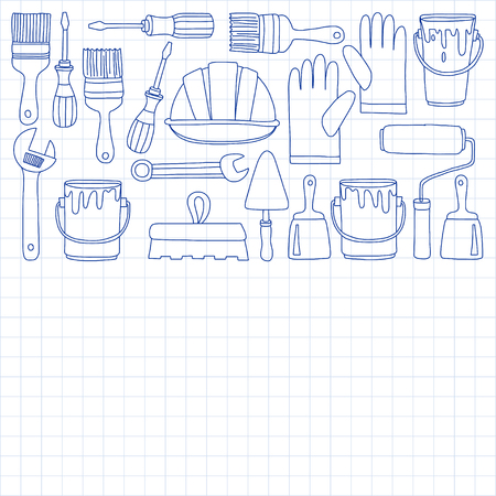 Repair and renovation tools Hand drawn vector pictures Illustration