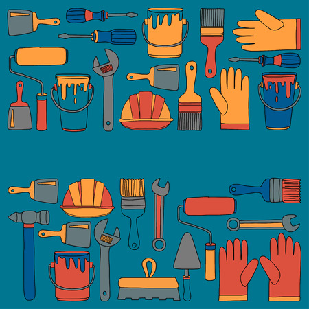 repaint: Repair and renovation tools Hand drawn vector pictures Illustration
