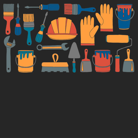 upkeep: Repair and renovation tools Hand drawn vector pictures Illustration