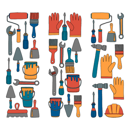 hardware store: Repair and renovation tools Hand drawn vector pictures Illustration