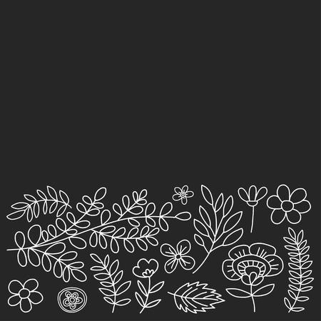 Vektor-Muster mit Blumen Hand gezeichnete Bilder Standard-Bild - 59408196