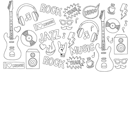 snickers: Music doodle vector set Hand drawn pictures