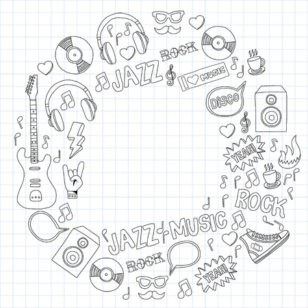 metall and glass: Music doodle vector set Hand drawn pictures
