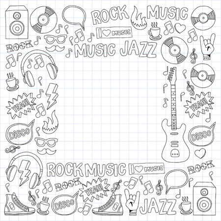 love icon: Music doodle vector set Hand drawn pictures