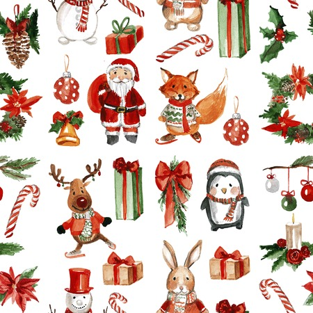 Holly jolly Merry Christmas Seamless pattern Hand drawn image 版權商用圖片
