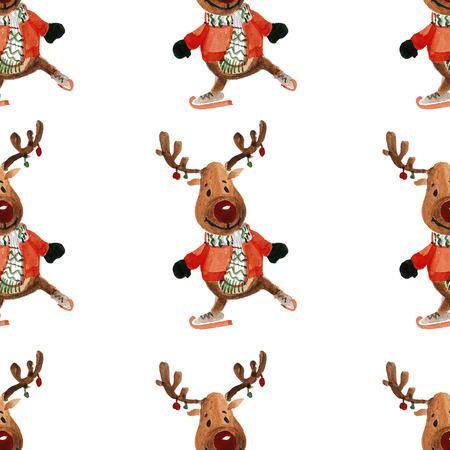 jolly: Holly jolly Merry Christmas Seamless pattern Hand drawn image Stock Photo