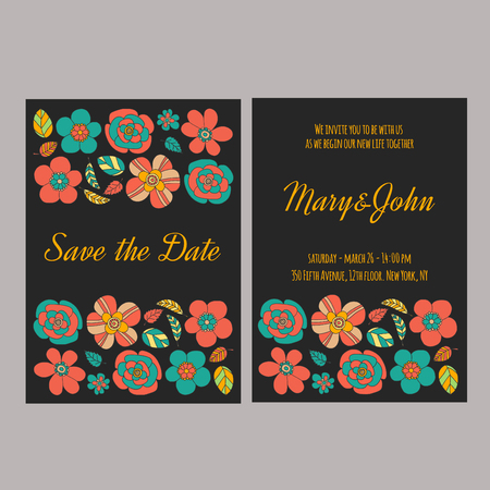 blackboard background: Wedding invitation vector template Hand drawn elements Illustration