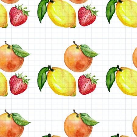 Seamless aquarelle image dessinée fruits à la main avec