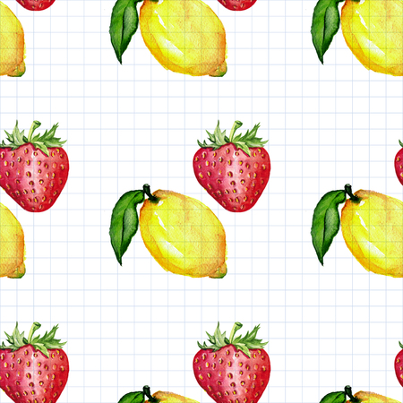 Seamless watercolor pattern with fruits Hand drawn image