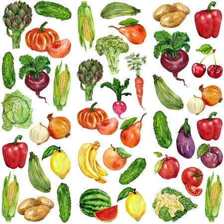 Conjunto de la acuarela imagen Frutas y verduras dibujado a mano con Foto de archivo - 60347553