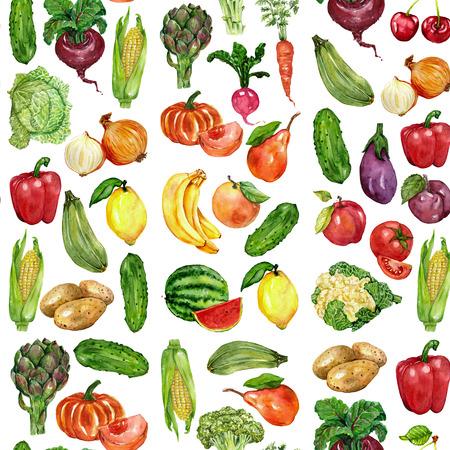 Watercolor set getrokken groenten en fruit Hand beeld Stockfoto