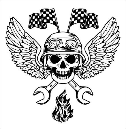 Vector biker set Hand drawn elements Repair Garage Motorcycle Biker Rider Illustration