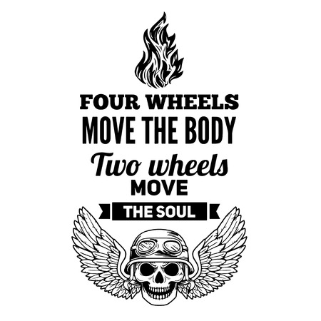 motto: Vector hand drawn quote about motorcycles and bikers Illustration