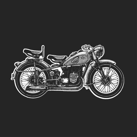 motocycle: Motorcycle icon or sign. Vector black silhouette of bike or motorcycle. Illustration