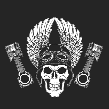 spares: Hand drawn vector image of winged skull with pistons Picture on blackboard Illustration