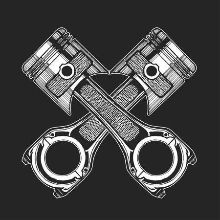 spare part: Hand drawn vector image of pistons on blackboard