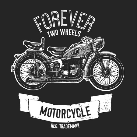 Hand drawn quote about motorcycles and bikers on blackboard