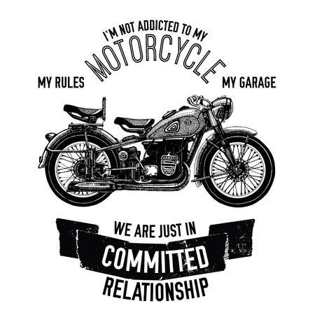 Hand drawn vector motorcycle quote for any kind of design Vektorové ilustrace