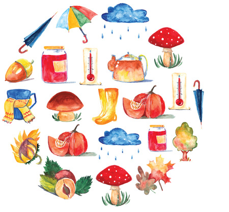 amanita: Set of watercolor icons Hello autumn Seasonal sale Hand drawn images