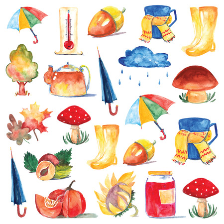 autumn tree: Set of watercolor icons Hello autumn Seasonal sale Hand drawn images