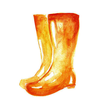 gumboots: Watercolor icon of gumboots Hand drawn image Stock Photo