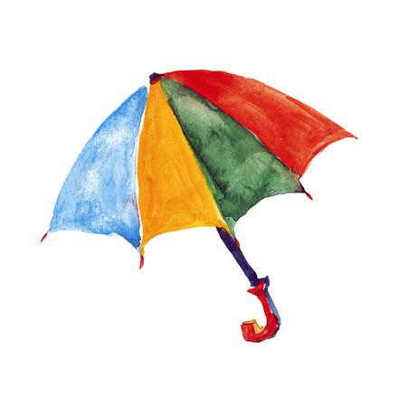 rainbow umbrella: Watercolor image of parasol Hand drawn picture