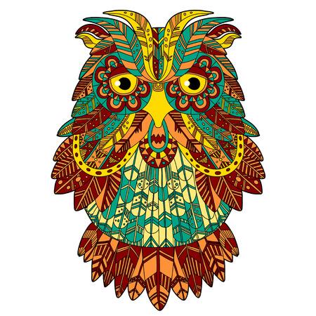eagle owl: Big eagle owl. Birds. Hand drawn doodle  . Ethnic patterned vector illustration. African, tribal, indian, oriental design. Sketch for adult antistress coloring page, poster, print, t-shirt