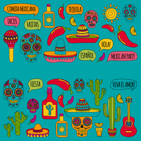 Mexican party Vector hand drawn images Nature, culture, food and drinks