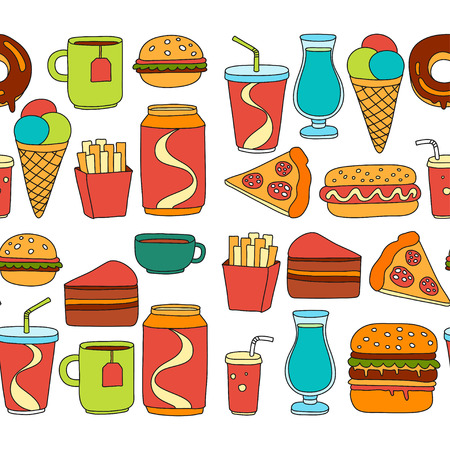 Hand drawn doodle icons for fast food menu Vector linear images