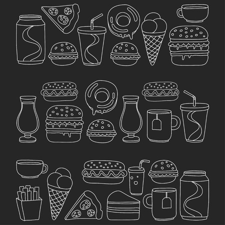 restaraunt: Hand drawn doodle icons for fast food menu Vector linear images