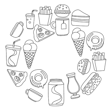 fizzy water: Hand drawn doodle icons for fast food menu Vector linear images
