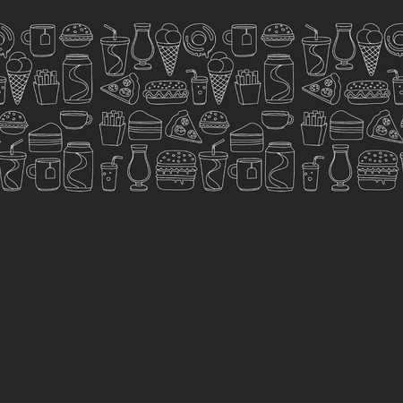 aerated: Hand drawn doodle icons for fast food menu Vector linear images