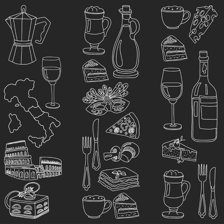 wine and food: Vector doodle set for italian menu. Journey to italian cuisine and culture Illustration