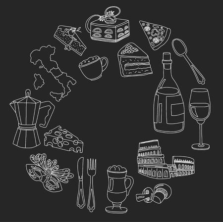 margherita: Vector doodle set for italian menu. Journey to italian cuisine and culture Illustration