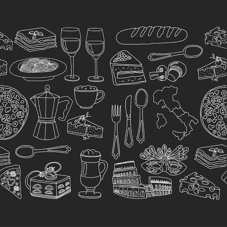 Vector doodle set for italian menu. Journey to italian cuisine and culture Ilustracja