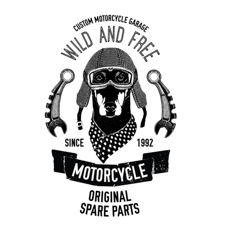 Biker quote with dog for garage, service, t-shirt, spare parts Vector hand drawn image