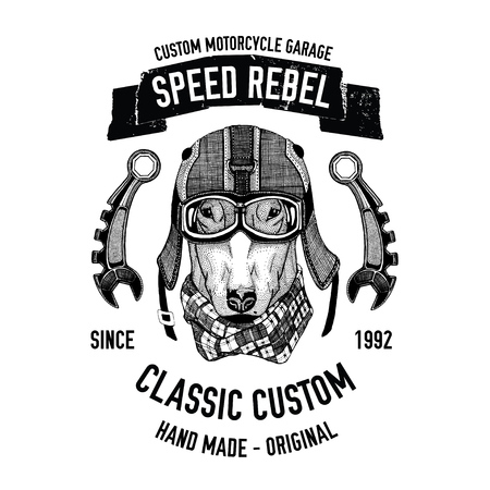 spare: Biker quote with dog for garage, service, t-shirt, spare parts Vector hand drawn image
