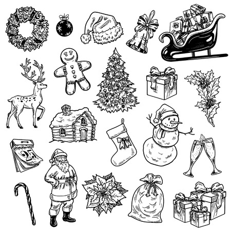 Holly jolly Merry Christmas vector set of hand drawn icons Happy new year Illustration