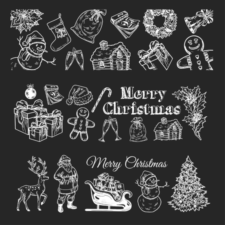 jolly: Holly jolly Merry Christmas vector set of hand drawn icons Happy new year Illustration